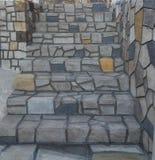 Wie wirkliche Steintreppe Kazarma Messinias lizenzfreies stockbild
