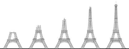 Wieży Eifla budowy sekwencja Obraz Royalty Free