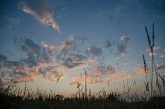 Wieś zmierzchu niebo w polu Obraz Royalty Free