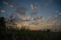 Wieś zmierzchu niebo w polu Zdjęcie Royalty Free