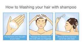 Wie zum Shampoo Ihr Haar Lizenzfreie Stockfotos