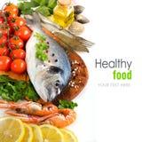Świeża dorado ryba, owoce morza i Zdjęcia Royalty Free