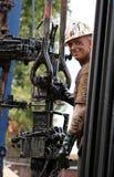 wieża wiertnicza pracownika Zdjęcia Royalty Free