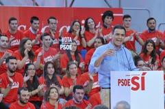 Wiec Hiszpański Socjalistyczny Pracowniczy przyjęcie (PSOE) obraz stock