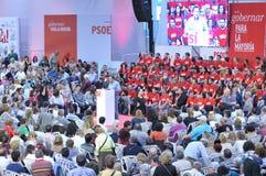 Wiec Hiszpański Socjalistyczny Pracowniczy przyjęcie w Gijon (PSOE) fotografia stock