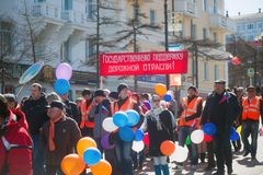 Wiec pracownicy drogowy przemysł w Rosja zdjęcia royalty free