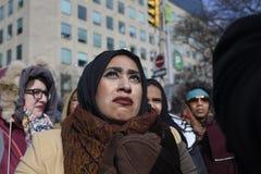 Wiec przeciw Donald atutu ` s Muzułmańskiemu zakazowi w Toronto zdjęcia stock