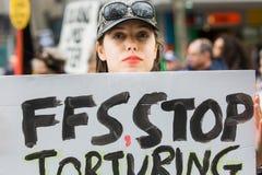 Wiec Przeciw dziecko torturze & zatrzymaniu fotografia royalty free