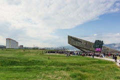 Wiec w wigilię rocznicy zwycięstwo w wojnie na terytorium pomnik Zdjęcia Stock