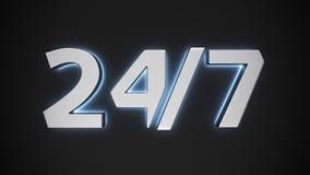 Świecący znak 24/7 Fotografia Royalty Free
