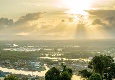 Wieczór światło słoneczne w Chumphon, Tajlandia Fotografia Stock