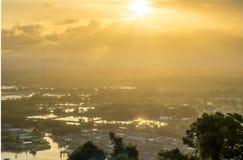 Wieczór światło słoneczne w Chumphon, Tajlandia Zdjęcie Stock