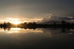 Wieczór czas na ryżowym polu w Tajlandia Zdjęcia Royalty Free