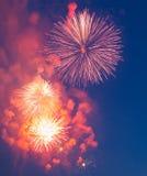 Wieczór fajerwerki na cześć wakacje zwycięstwo dzień Zdjęcie Stock