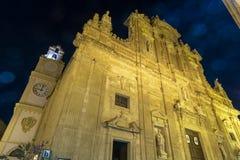 Wieczór Gallipoli, Puglia, Włochy, świętego Agata katedra Obrazy Royalty Free