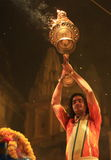 Wieczór Ganga Aarti w Varanasi Zdjęcie Stock