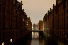 wieczór Germany Hamburg speicherstadt Zdjęcie Stock