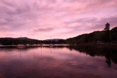 wieczór gromadzki jezioro Obraz Royalty Free