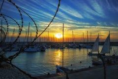 Wieczór jachtu klub w Ashdod Obrazy Stock