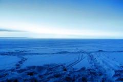 wieczór lasowa hoarfrost krajobrazu księżyc zima Obraz Royalty Free