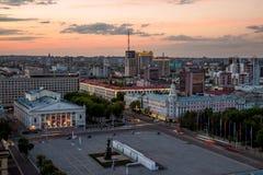 Wieczór lata pejzaż miejski od dachu Lenin kwadrat, Voronezh Obrazy Royalty Free