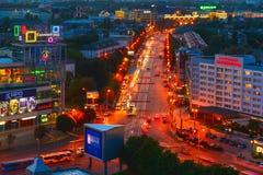 Wieczór Leninsky Prospekt Kaliningrad Zdjęcie Royalty Free
