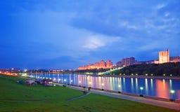 Wieczór miasto Cheboksary, Chuvashia, federacja rosyjska. Obrazy Stock