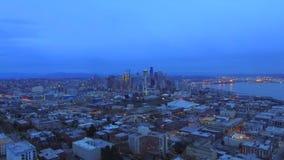 Wieczór miasto od ptasiego ` oka widoku zdjęcie wideo