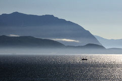 Wieczór na fjord Obrazy Royalty Free