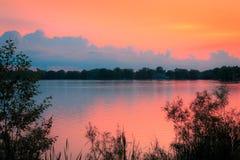 Wieczór na jeziorze Obrazy Stock