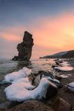 Wieczór na morzu, zimy wybrzeże Obrazy Stock