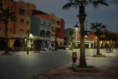 Wieczór na nowej marina deptaka ulicie, Egypt, hurghada Obrazy Royalty Free