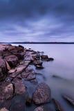 Wieczór na Tuttle Zatoczka jeziorze w Kansas Zdjęcie Stock