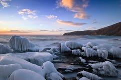 Wieczór na zimy morzu Zdjęcia Stock