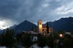 Wieczór nastrój w Południowym Tyrol Zdjęcie Stock