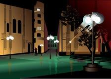 Wieczór pejzaż miejski z lampionami ilustracji