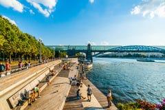 Wieczór przy jawną plażą Moskwa Gorky park obraz royalty free