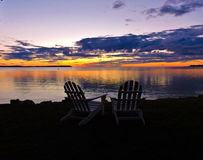 Wieczór przy jeziorem zdjęcia royalty free