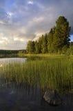 Wieczór przy jeziornym Delsbo Zdjęcie Stock