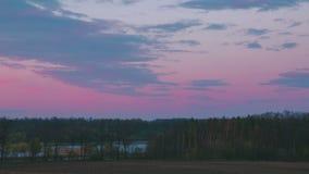 Wieczór przy lasową pobliską rzeką zbiory