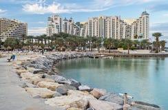 Wieczór przy północną plażą Eilat Obrazy Royalty Free