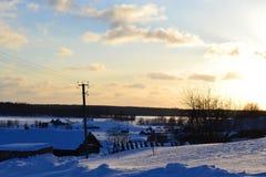 wieczór rosyjska mała widok wioski zima Zdjęcie Stock