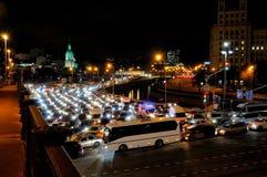 Wieczór ruchu drogowego dżem w Moskwa Obraz Royalty Free