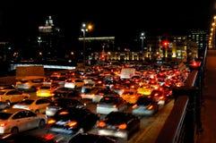 Wieczór ruchu drogowego dżem w Moskwa Zdjęcie Royalty Free
