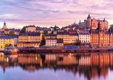Wieczór sceneria Sztokholm, Szwecja Fotografia Royalty Free