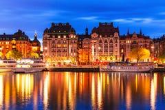 Wieczór sceneria Sztokholm, Szwecja Fotografia Stock