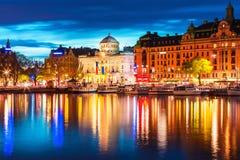 Wieczór sceneria Sztokholm, Szwecja Zdjęcia Royalty Free