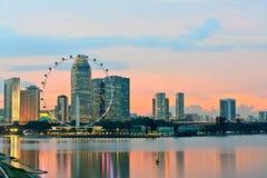 wieczór Singapore linia horyzontu Zdjęcie Royalty Free