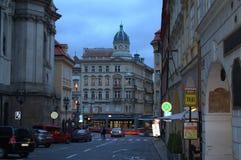 Wieczór ulica Praga Obrazy Stock