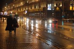 Wieczór ulica w Minsk Zdjęcia Stock